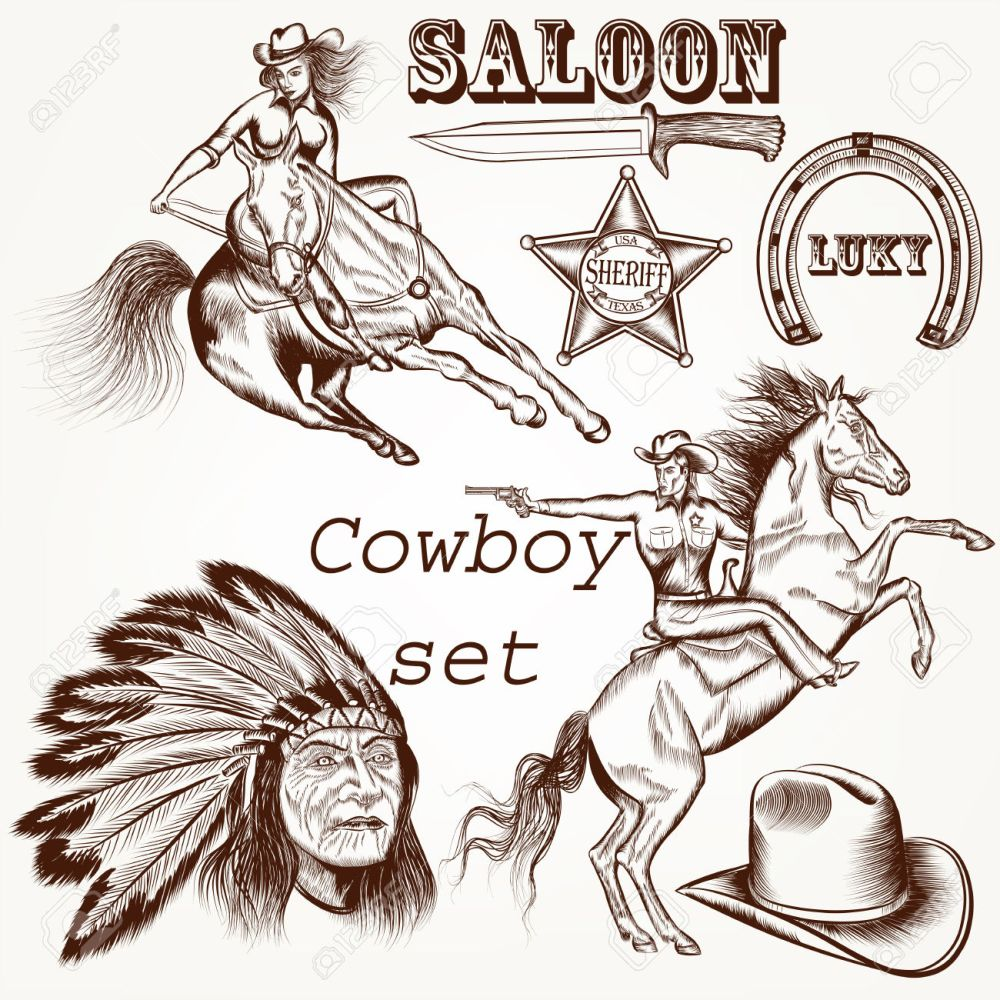 medium resolution of 964 cowboys and indians stock illustrations cliparts and royalty