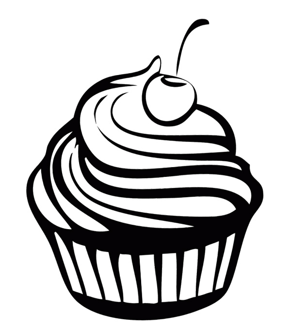 cupcake clipart coloring page