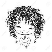 woman hair clipart black and white