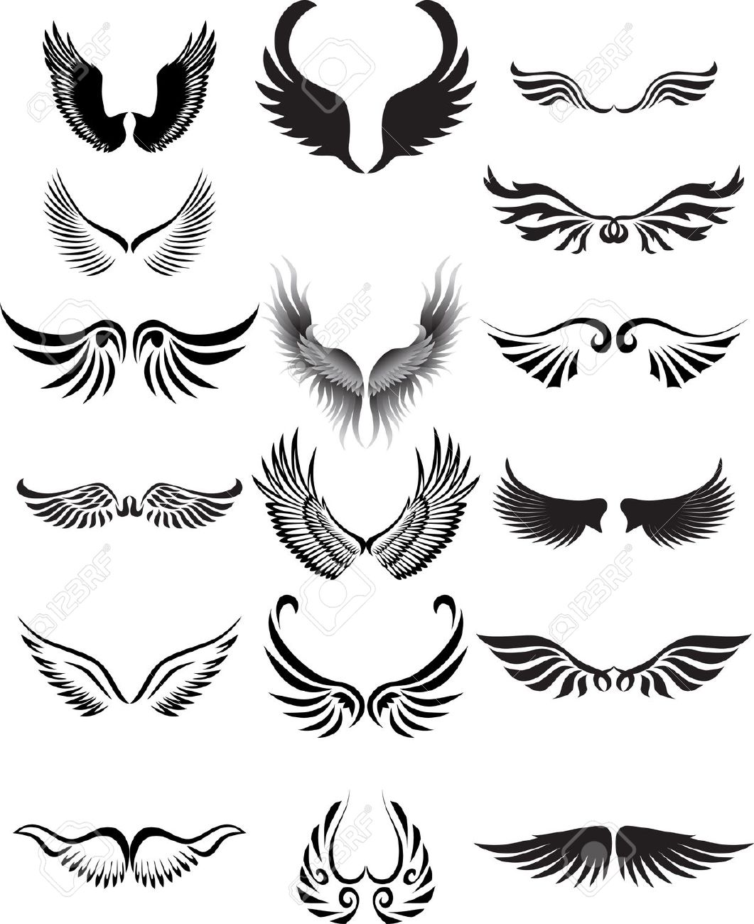 Curved Angel Wings Silhouette Clipart 20 Free Cliparts