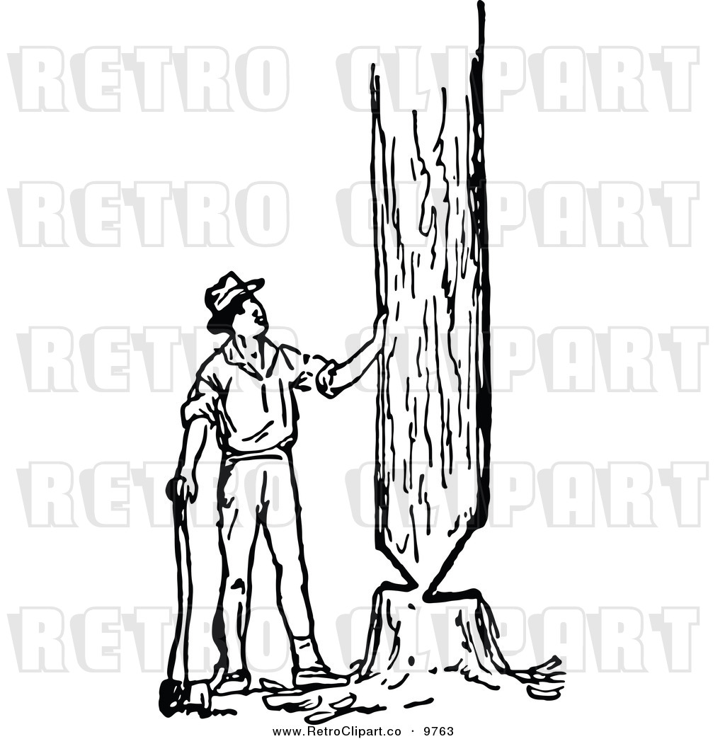 Man Trimming Trees Clipart