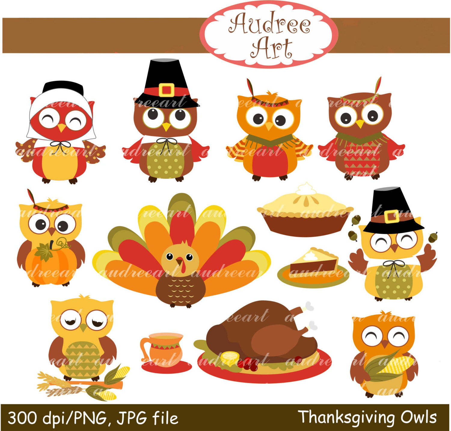 hight resolution of cute animal thanksgiving clipart