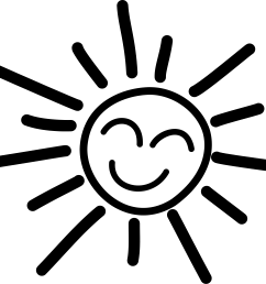 smiling sun clipart black and white  [ 1200 x 1032 Pixel ]