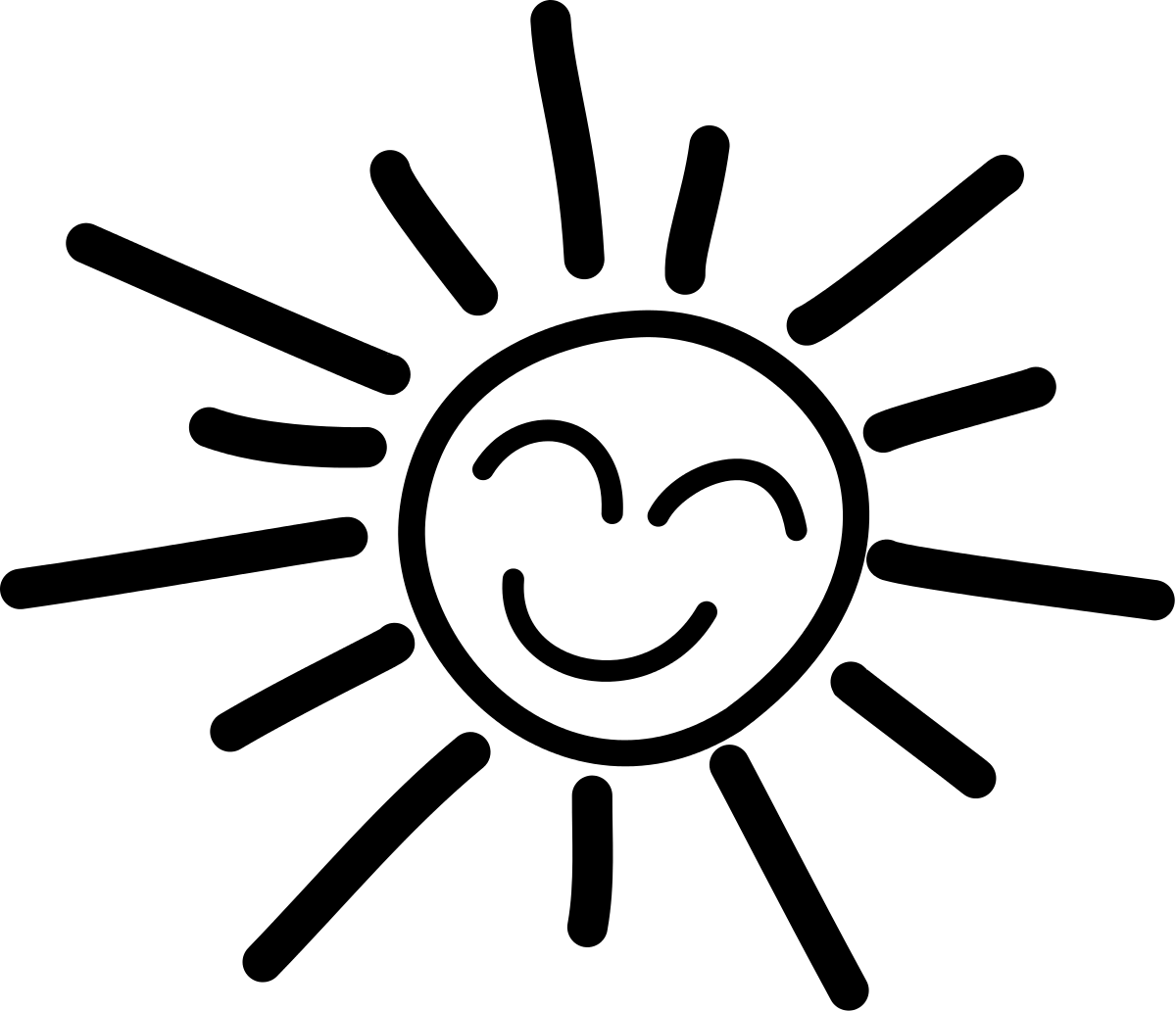 hight resolution of smiling sun clipart black and white