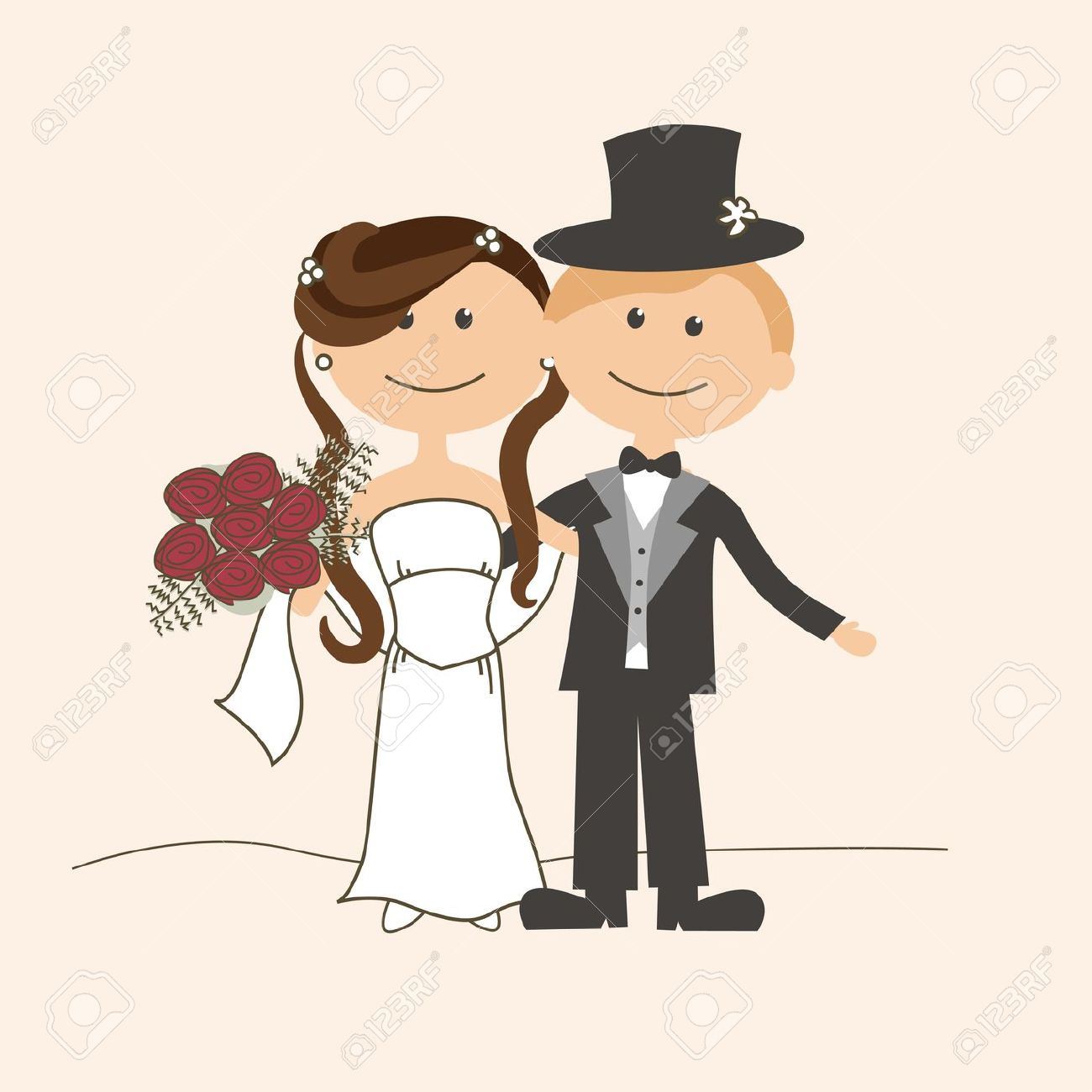 hight resolution of cute bride and groom clipart