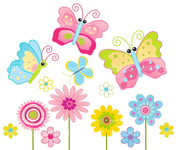 cute butterfly and flower clipart
