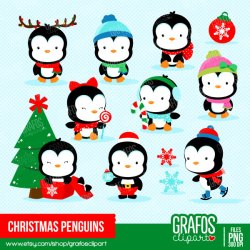 penguin clipart christmas cute penguins merry winter digital clipground cliparts