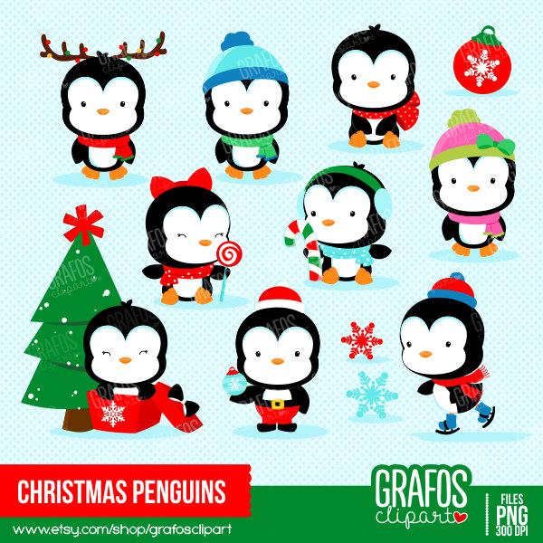 cute christmas penguin clipart
