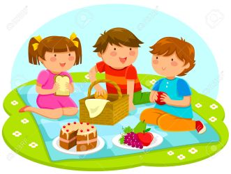 lunch clipart cute eating picnic having illustration three vector