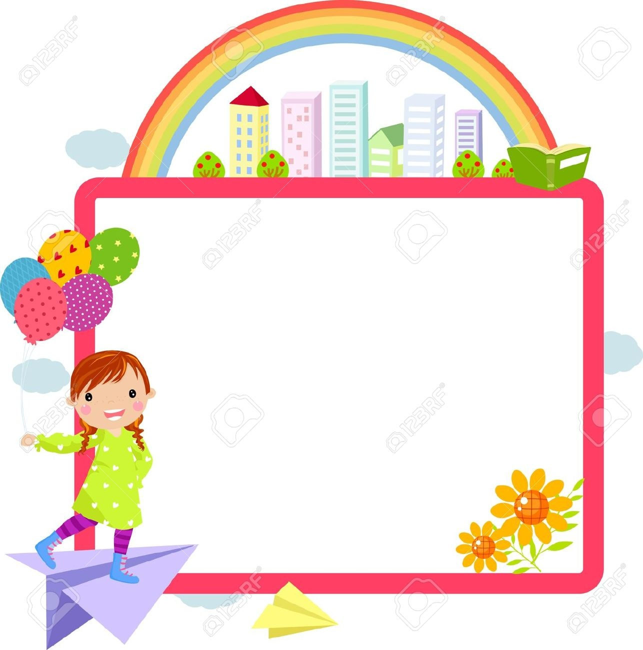 Cute School Clipart Horizontal Border