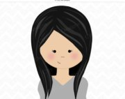 girl with black hair clipart