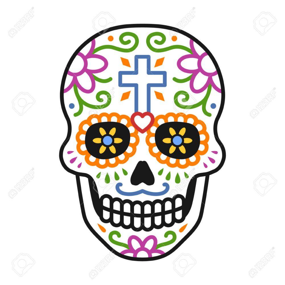 medium resolution of decorated skull calavera celebrating day of the dead line