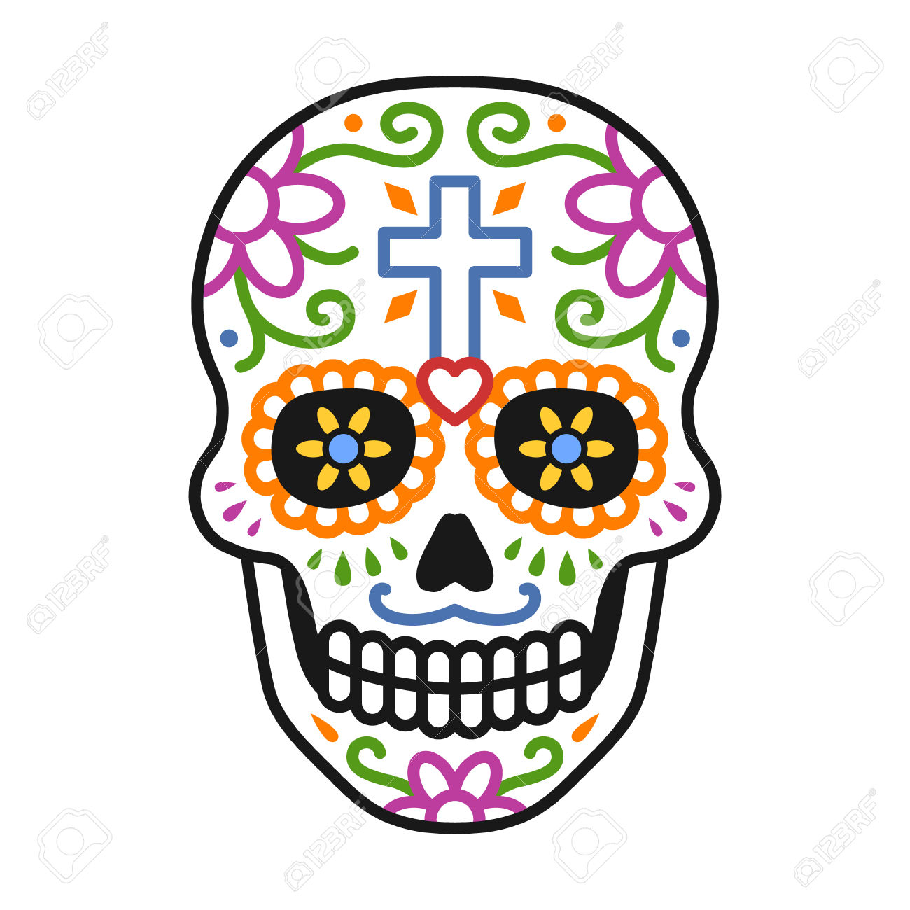 hight resolution of decorated skull calavera celebrating day of the dead line