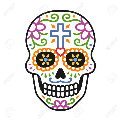 small resolution of decorated skull calavera celebrating day of the dead line