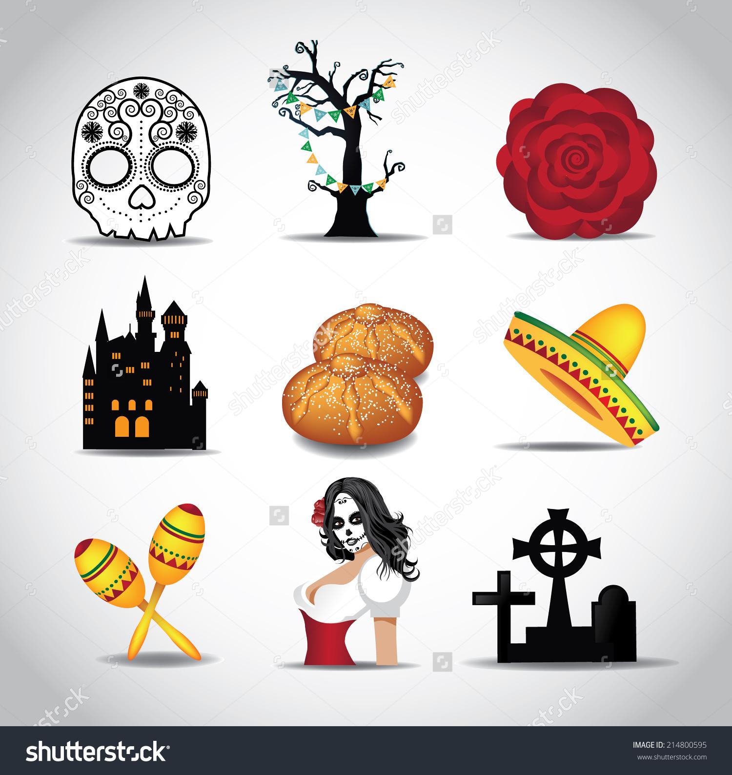 hight resolution of dia de muertos day dead icon stock vector 214800595