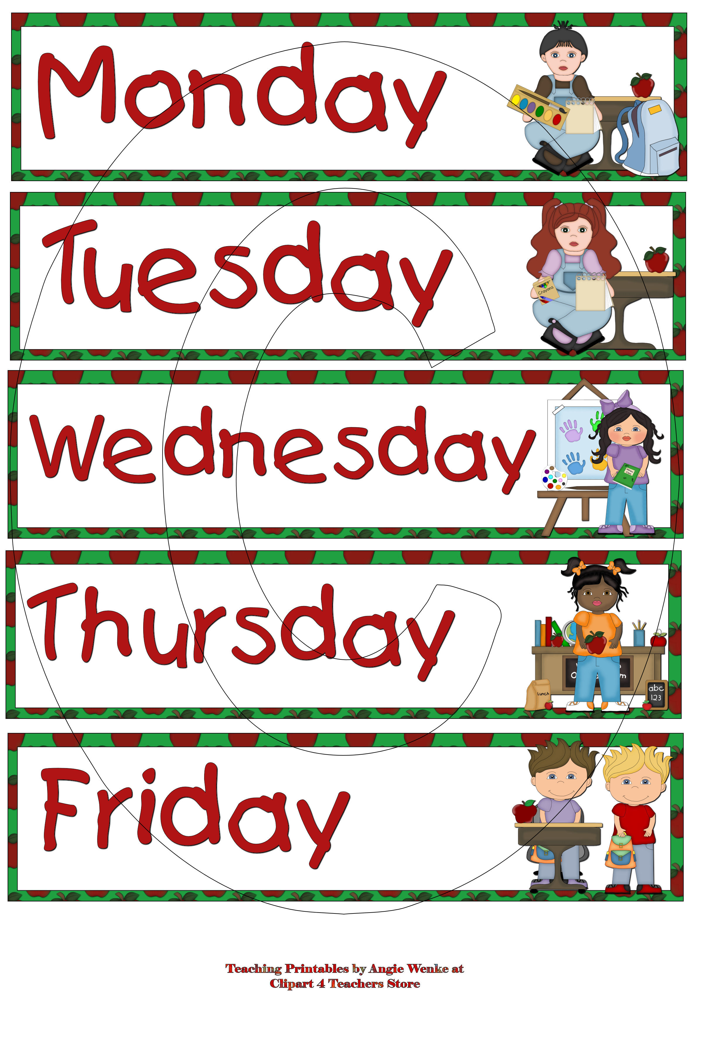Free Letter Clipart Week Days