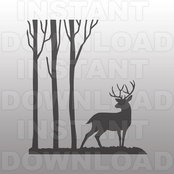 Deer In The Woods Clipart Silhouette Clipground