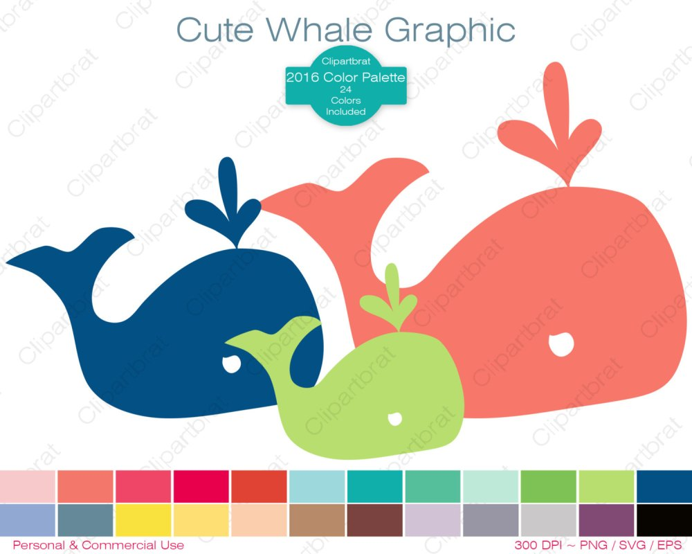 medium resolution of whale clipart commercial use clipart cute whale graphic 2016 color palette 24 colors whale images digital sticker vector whale png eps svg
