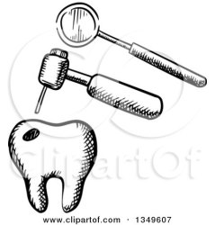 dental clipart mirror dentist tools tooth drill illustration vector sketched royalty graphics mouth seamartini tradition sm floss clipground toothbrush
