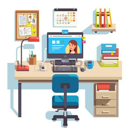 desk with computer clipart - clipground