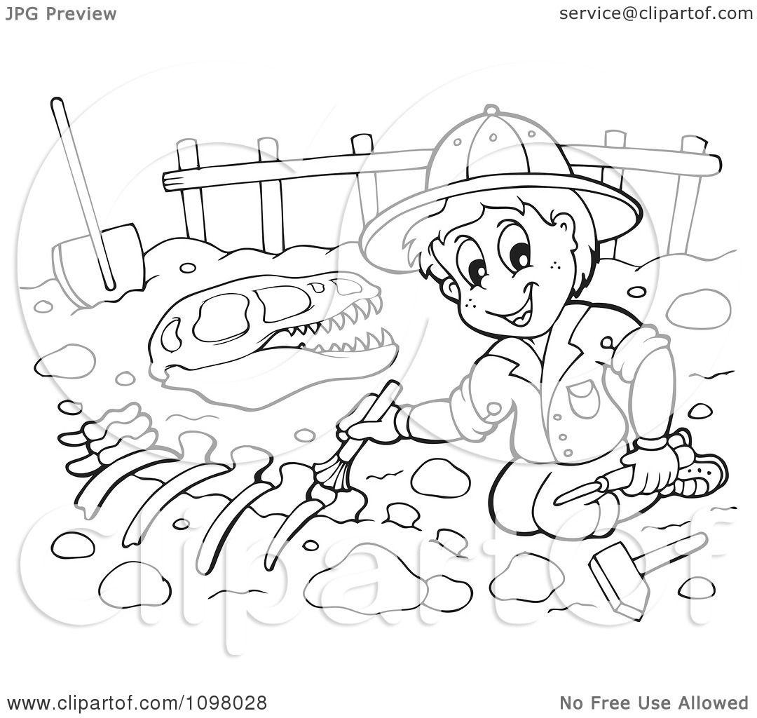 Dinosaur Fossil In Dirt Clipart
