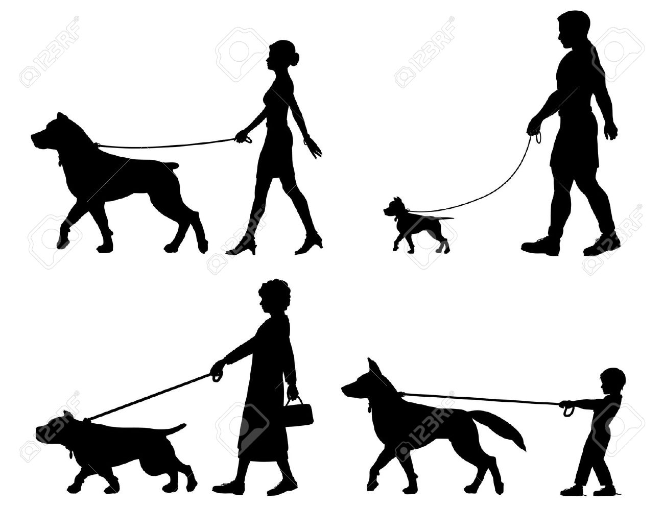Dog Walk Clipart