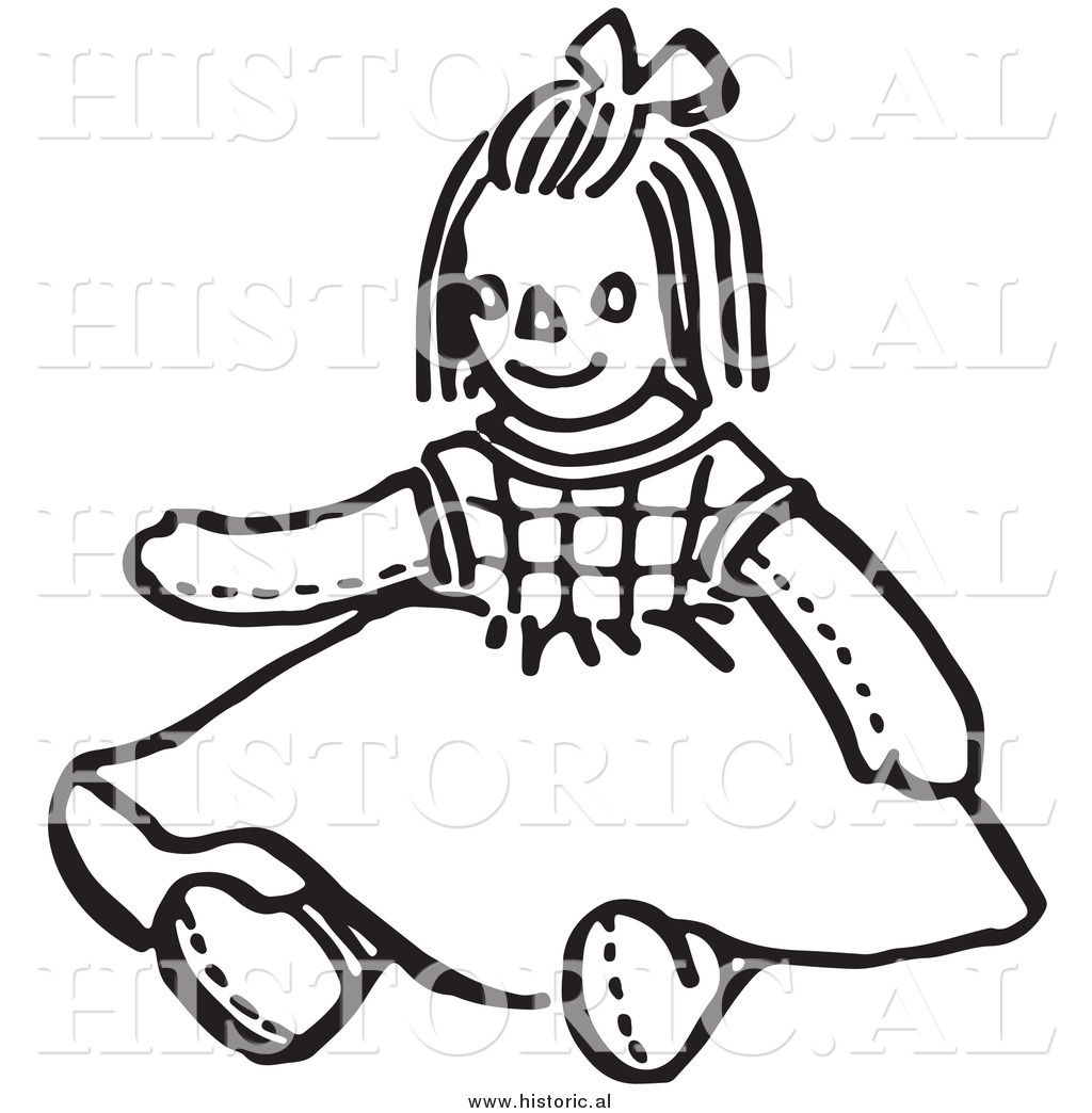 Doll Black And White Clipart