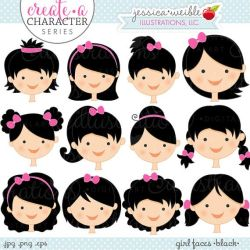 hair clipart faces character create doll face cute own series mix ok commercial digital match sets etsy caras bonecas cabelo