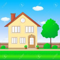 House with garden clipart