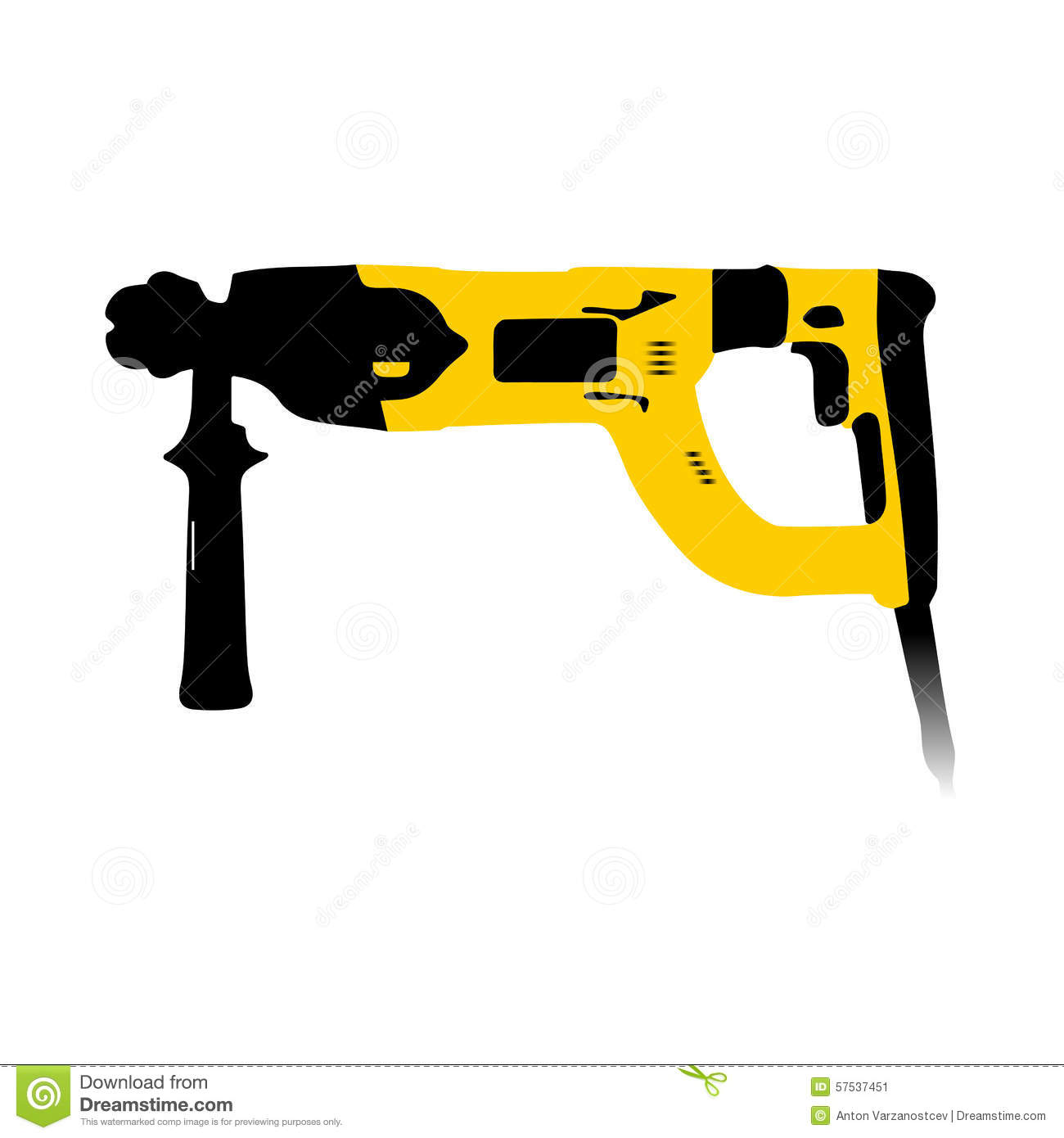 hight resolution of black and yellow electric hammer stock vector