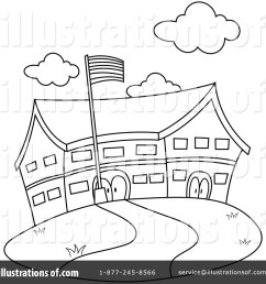 elementary school building clipart black and white  [ 1024 x 1024 Pixel ]