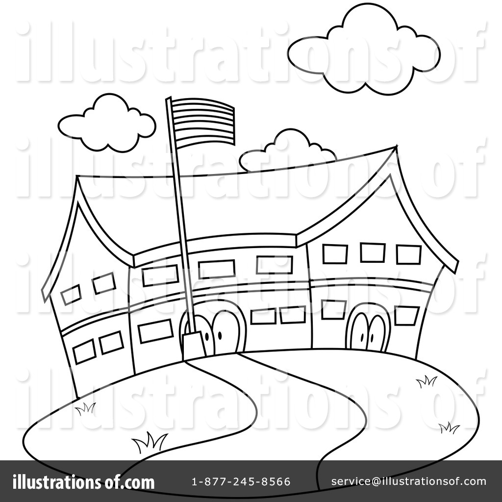 hight resolution of elementary school building clipart black and white