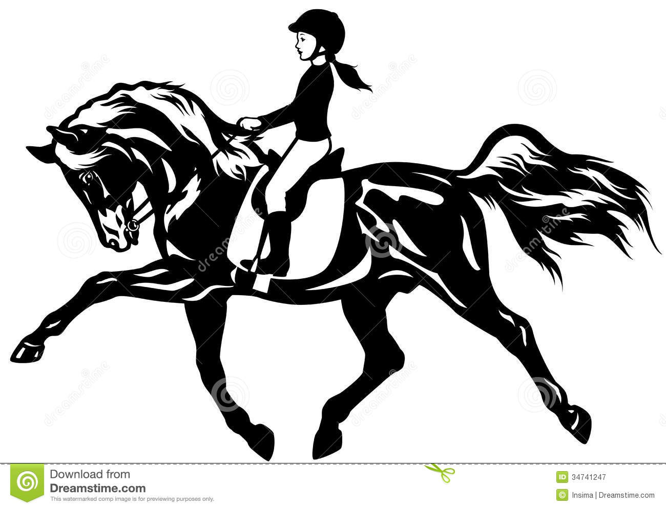hight resolution of kid riding horseequestrian sportblack and white illustration equestrian sport