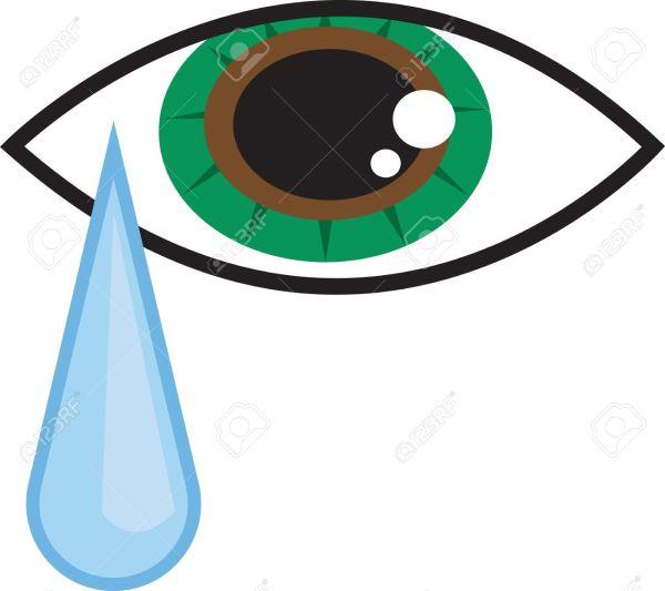 Eye with Tear Falling Clip Art