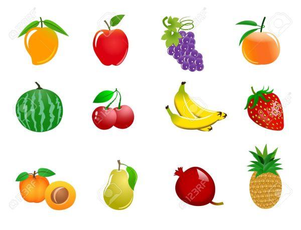 Different Color Fruits Clip Art