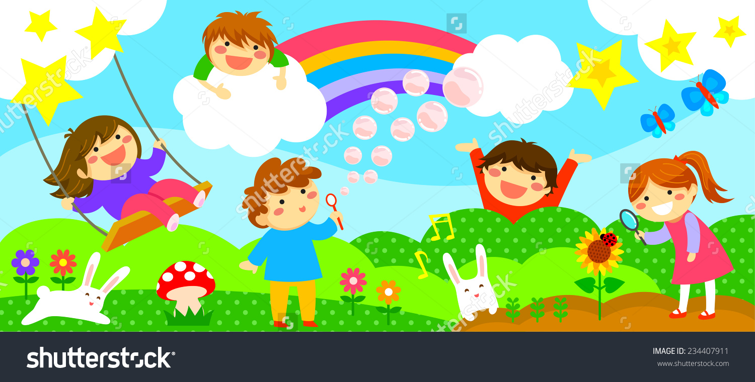 hight resolution of wide horizontal strip with happy kids playing in a fantasy world fantasy world clipart