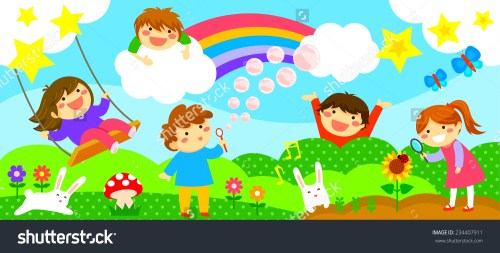 small resolution of wide horizontal strip with happy kids playing in a fantasy world fantasy world clipart