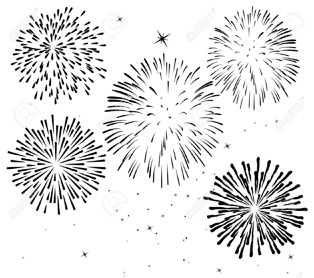 hight resolution of black and white fireworks