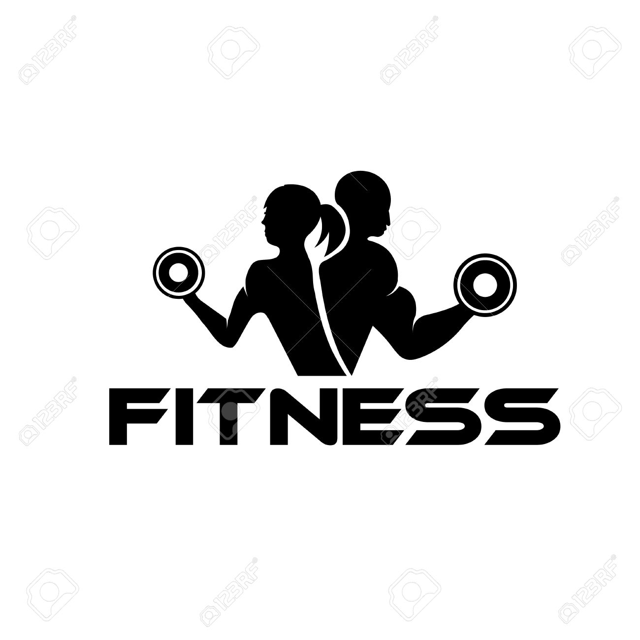 Free Black And White Fitness Clipart