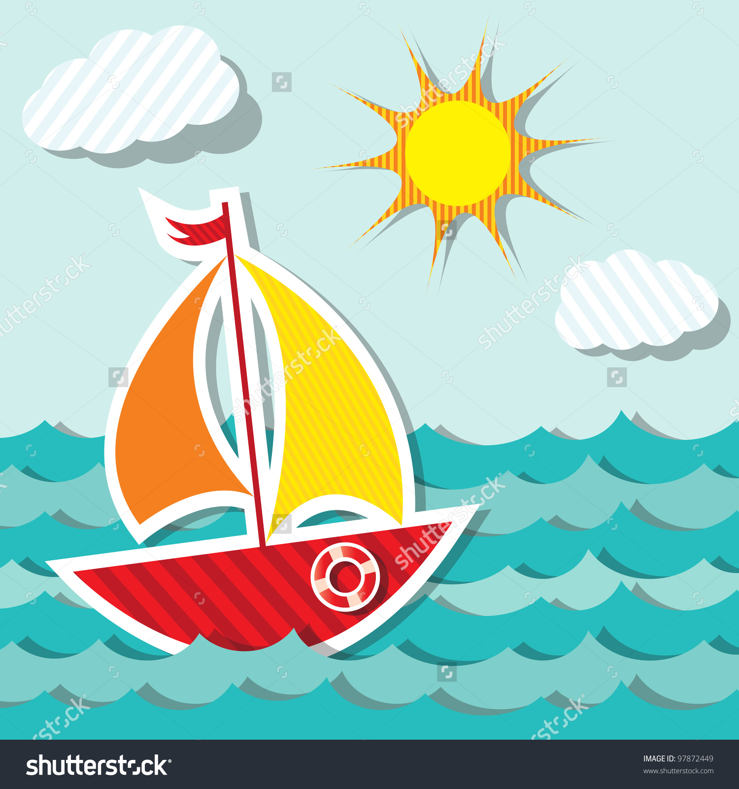 hight resolution of vector sailing boat sticker floating on stock vector 97872449