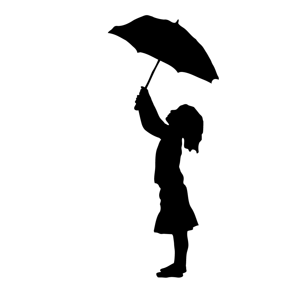 Free Clipart And Silhouette Of Girl With Umbrella