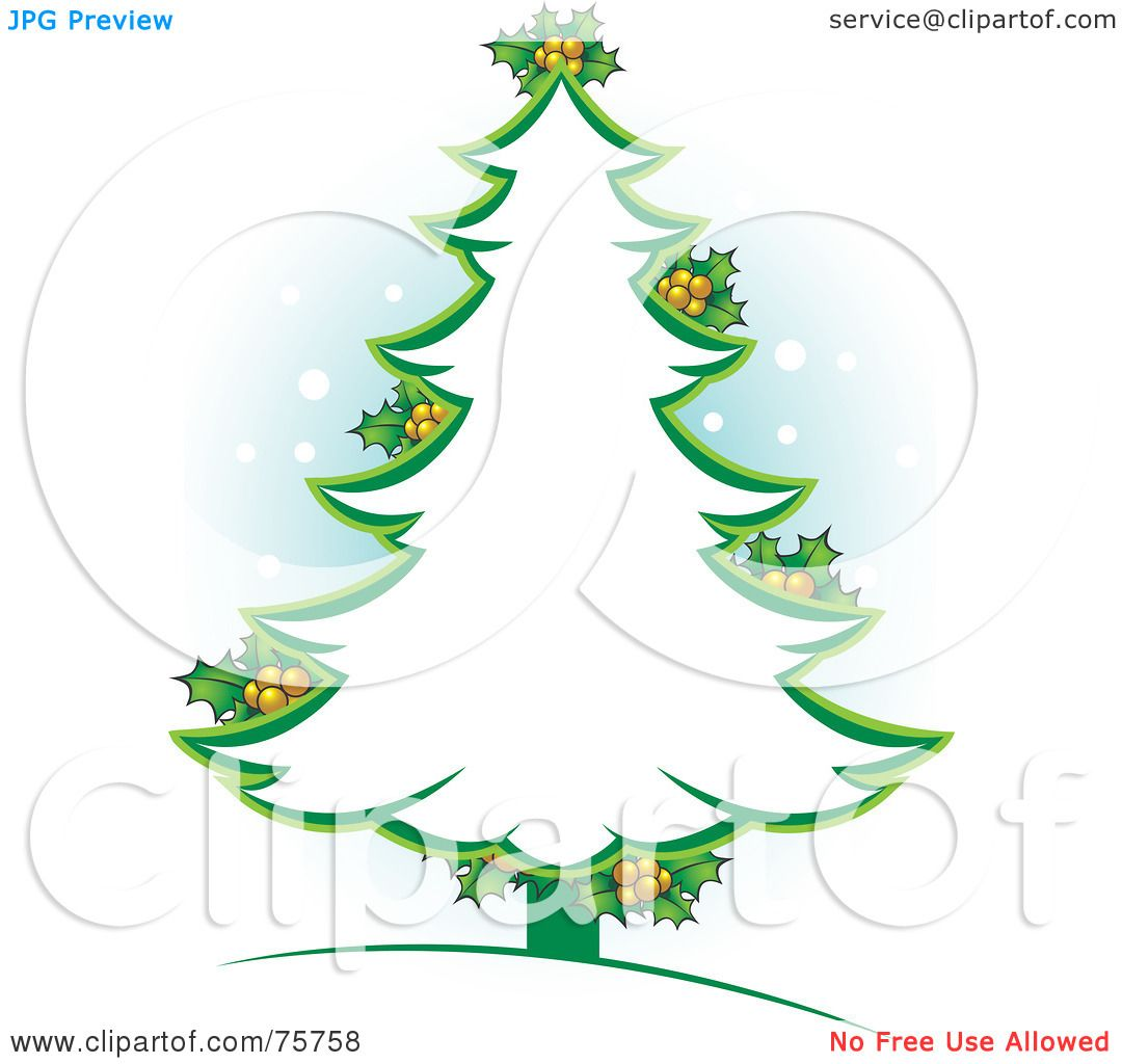 hight resolution of royalty free rf clipart illustration of a green christmas tree outline with holly by lal perera