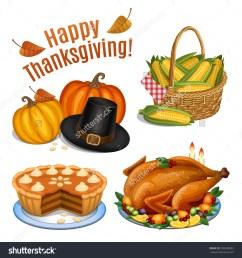 set cartoon icons thanksgiving dinner roast stock vector 328538903  [ 1500 x 1600 Pixel ]