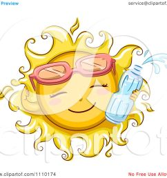 clipart happy summer sun wearing sunglasses and holding a water  [ 1080 x 1024 Pixel ]