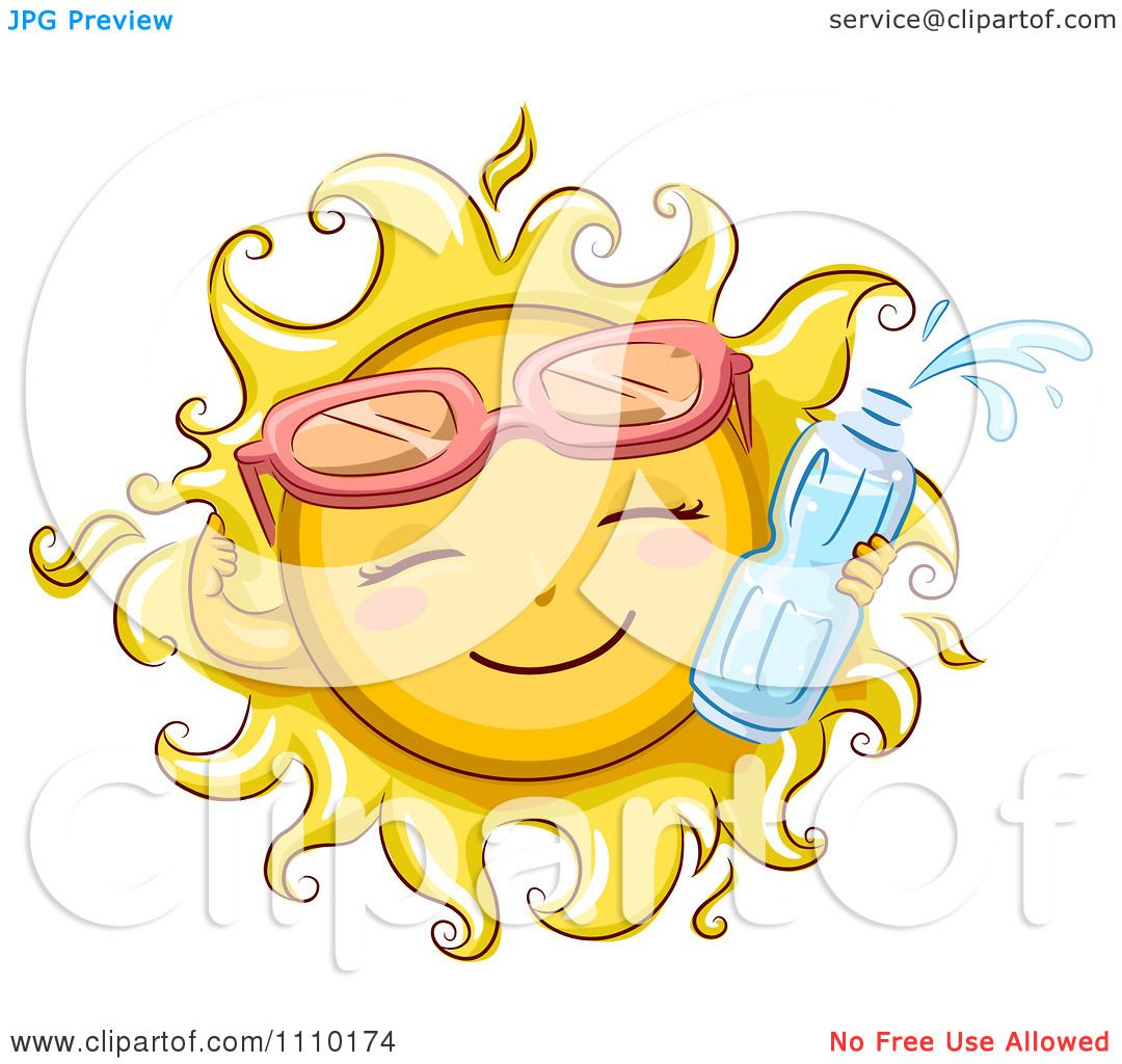 hight resolution of clipart happy summer sun wearing sunglasses and holding a water