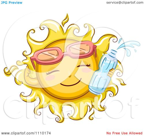 small resolution of clipart happy summer sun wearing sunglasses and holding a water