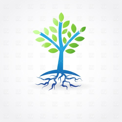 small resolution of simple spring tree with roots vector image 22061