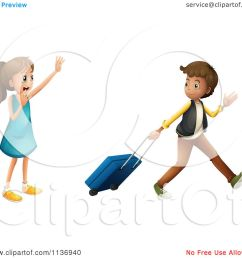 cartoon of a girl waving goodbye to a boy with luggage royalty free vector clipart [ 1080 x 1024 Pixel ]