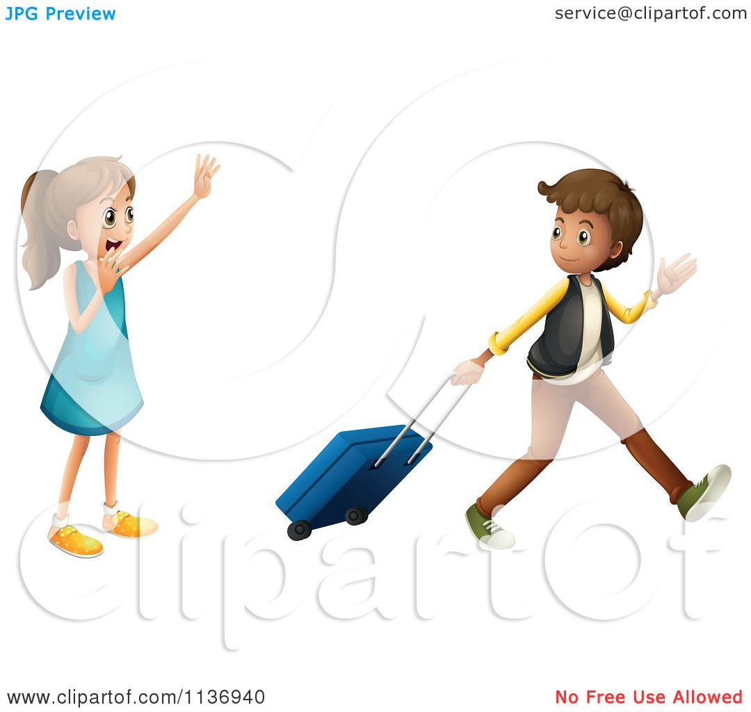 hight resolution of cartoon of a girl waving goodbye to a boy with luggage royalty free vector clipart