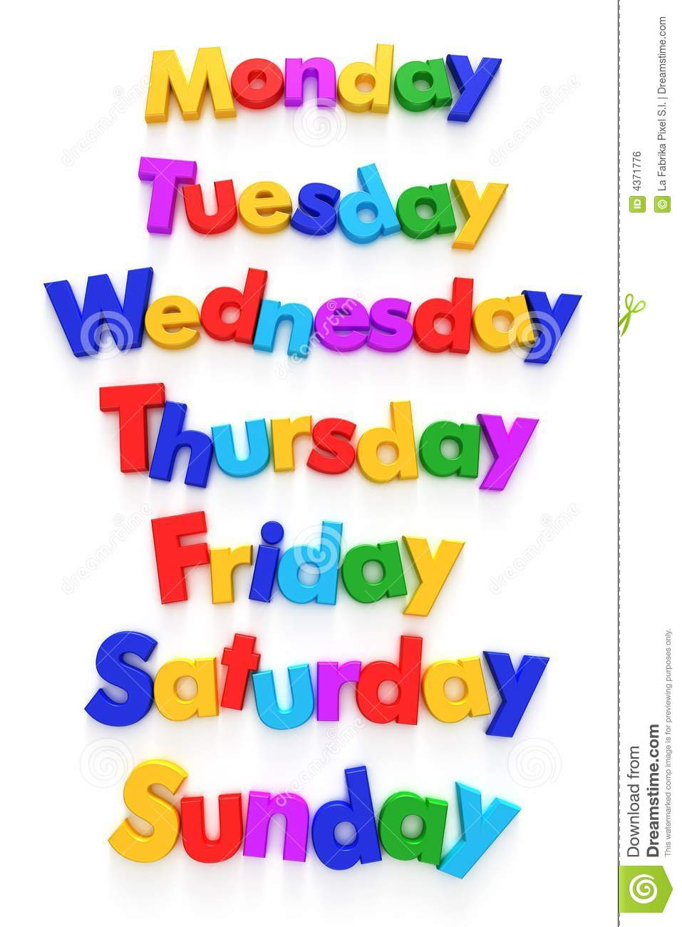 medium resolution of days of the week in letter magnets royalty free stock image